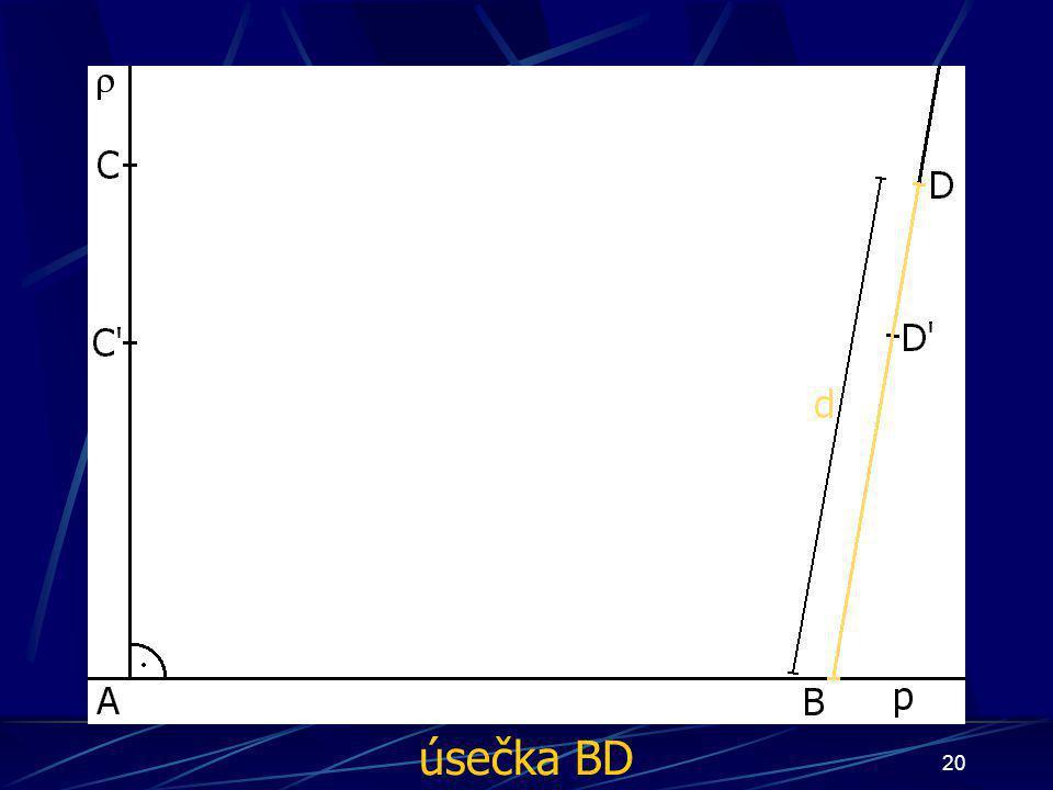 19 Konstrukce důkazu Buď dána rovina ρ, dále: 2.Bod A náležící přímce p 3.