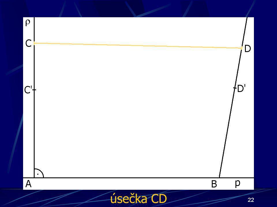 21 Konstrukce důkazu Buď dána rovina ρ, dále: 3. Bod B náležící přímce p 4. ∡ BAC', jehož velikost je 90° 5. ∡ ABD', jehož velikost je větší než 90° 6