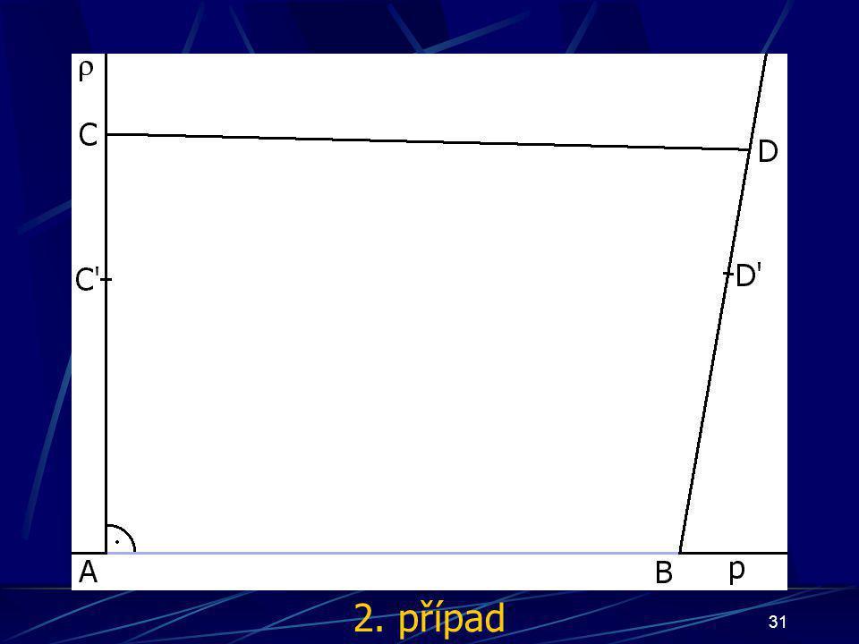 30 Důkaz Nyní mohou nastat tři případy: bod S bude ležet uvnitř čtyřúhelníka ABCD bod S bude náležet úsečce AB