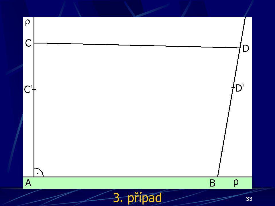 32 Důkaz Nyní mohou nastat tři případy: bod S bude ležet uvnitř čtyřúhelníka ABCD bod S bude náležet úsečce AB bod S bude náležet polorovině pod přímkou p