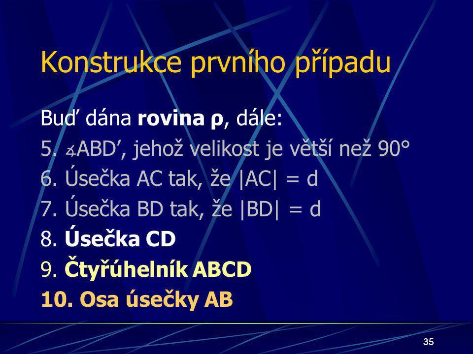 34 Důkaz Nechť nyní nastane případ: bod S bude ležet uvnitř čtyřúhelníka ABCD bod S bude náležet úsečce AB bod S bude náležet polorovině pod přímkou p