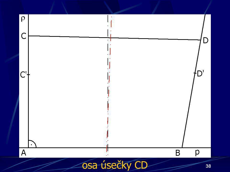 37 Konstrukce prvního případu Buď dána rovina ρ, dále: 6.