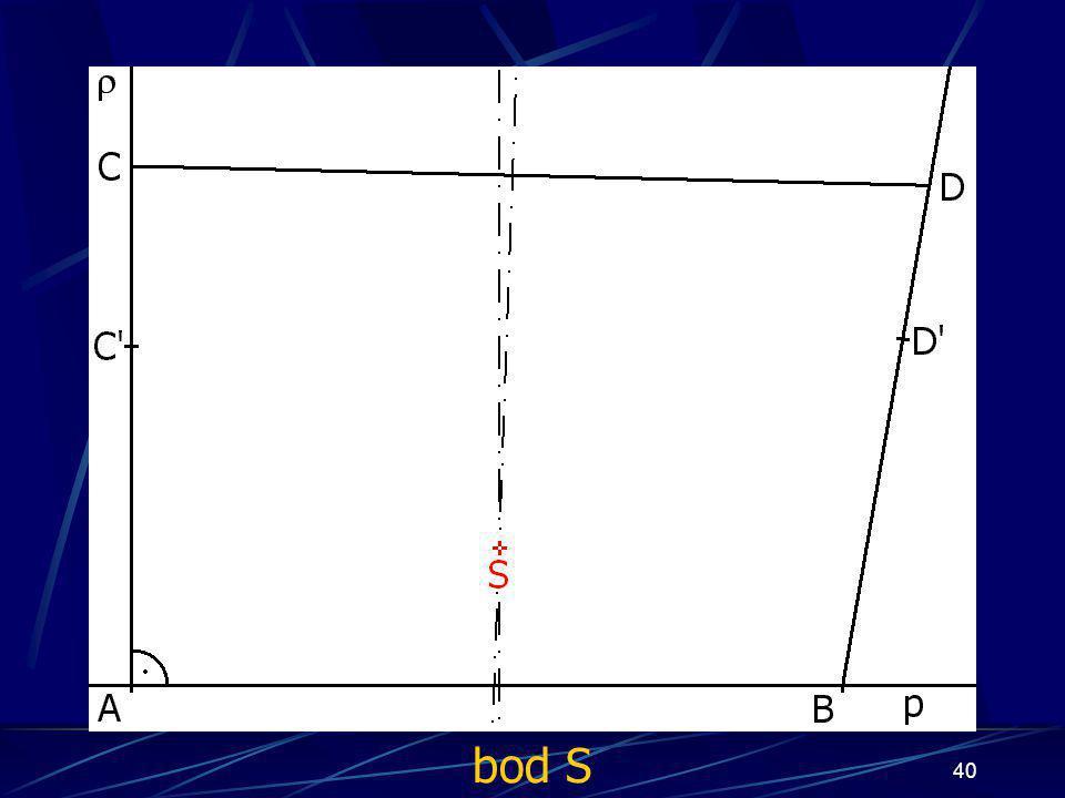 39 Konstrukce prvního případu Buď dána rovina ρ, dále: 8.