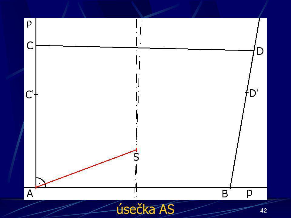 41 Konstrukce prvního případu Buď dána rovina ρ, dále: 9.