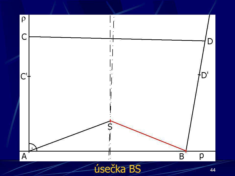 43 Konstrukce prvního případu Buď dána rovina ρ, dále: 10.