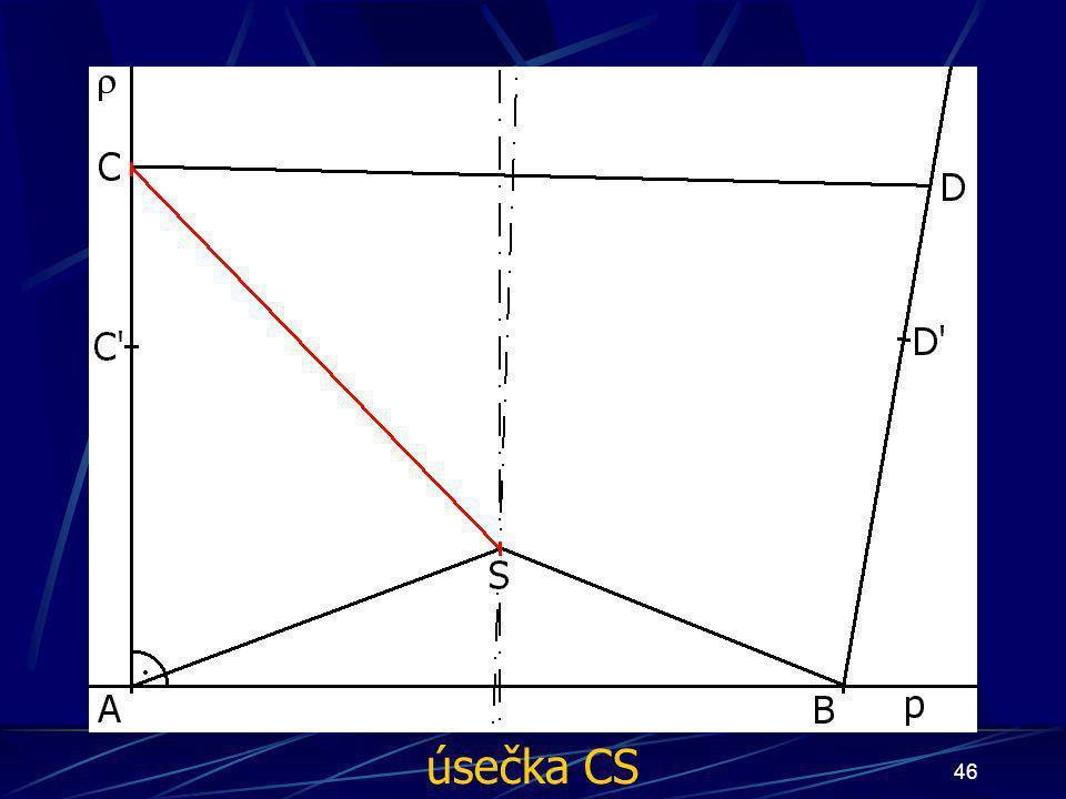 45 Konstrukce prvního případu Buď dána rovina ρ, dále: 11. Osa úsečky CD 12. Bod S, průnik osy úsečky AB a osy úsečky CD 13. Úsečka AS 14. Úsečka BS 1
