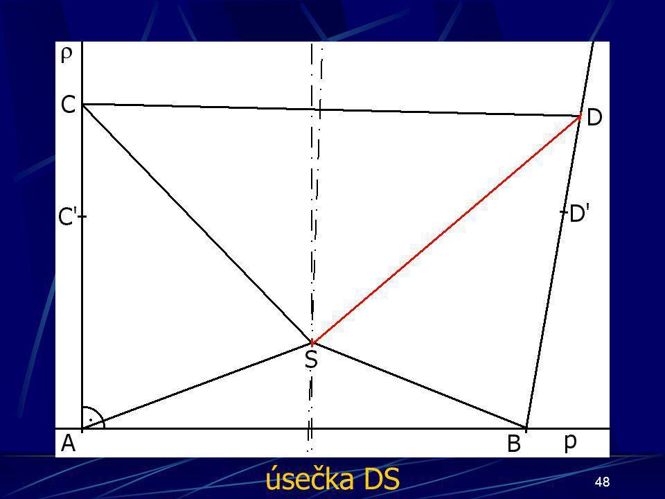 47 Konstrukce prvního případu Buď dána rovina ρ, dále: 12.