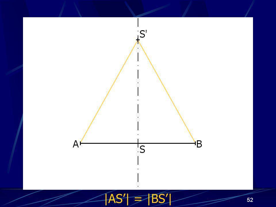 51 pro připomenutí Osa úsečky je přímka s vlastnostmi: Všechny její body mají stejnou vzdálenost od krajních bodů úsečky