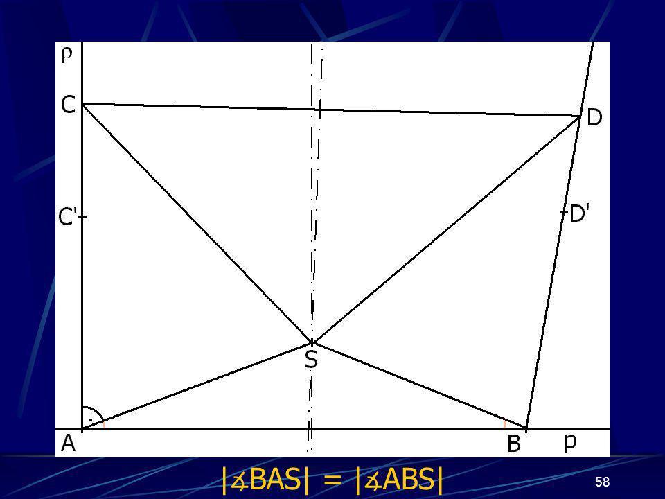 57 Dokončení důkazu prvního případu z vlastností osy úsečky vyplývá:  AS  =  BS , odtud   ∡ BAS  =   ∡ ABS 