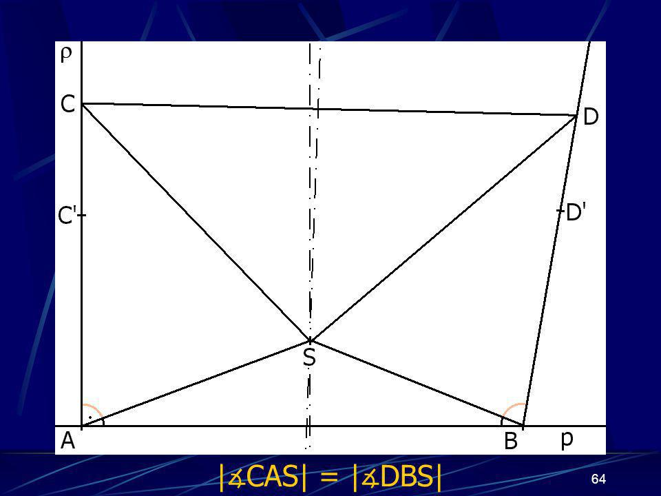 63 Dokončení důkazu prvního případu z vlastností osy úsečky vyplývá: |AS| = |BS|, odtud | ∡ BAS| = | ∡ ABS| |CS| = |DS| Trojúhelníky ASC a BSD jsou shodné (sss) a odtud plyne, že | ∡ CAS| = | ∡ DBS|