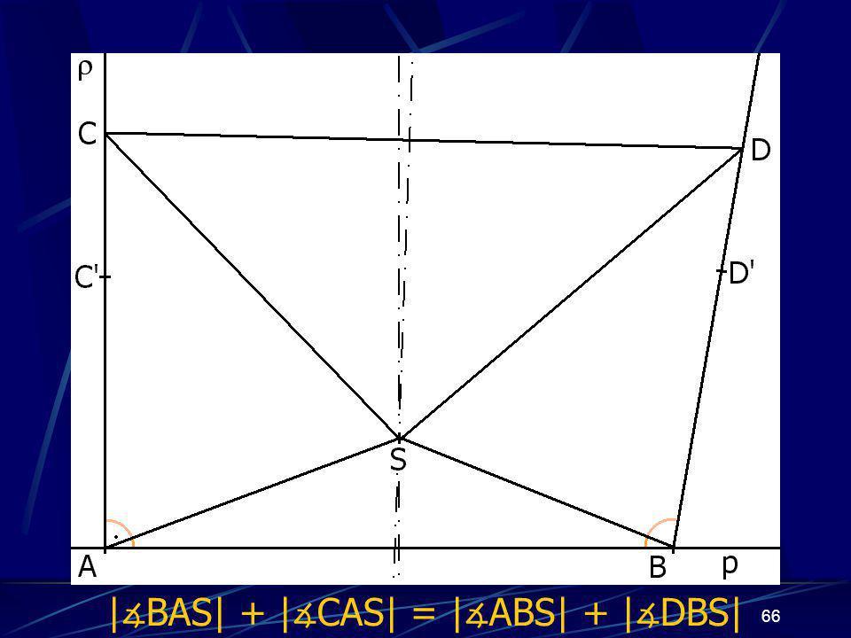 65 Dokončení důkazu prvního případu z vlastností osy úsečky vyplývá: |AS| = |BS|, odtud | ∡ BAS| = | ∡ ABS| |CS| = |DS| Trojúhelníky ASC a BSD jsou shodné (sss) a odtud plyne, že | ∡ CAS| = | ∡ DBS| Odtud již jasně: | ∡ BAS| + | ∡ CAS| = | ∡ ABS| + | ∡ DBS|