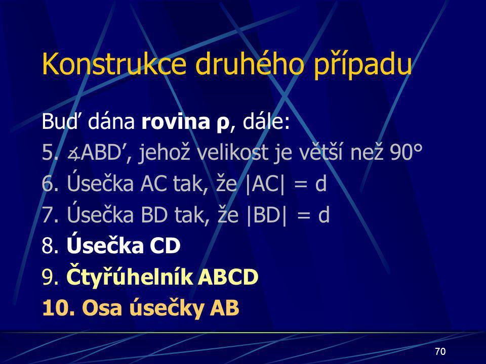 69 Důkaz Nechť nyní nastane případ: bod S bude ležet uvnitř čtyřúhelníka ABCD bod S bude náležet úsečce AB bod S bude náležet polorovině pod přímkou p