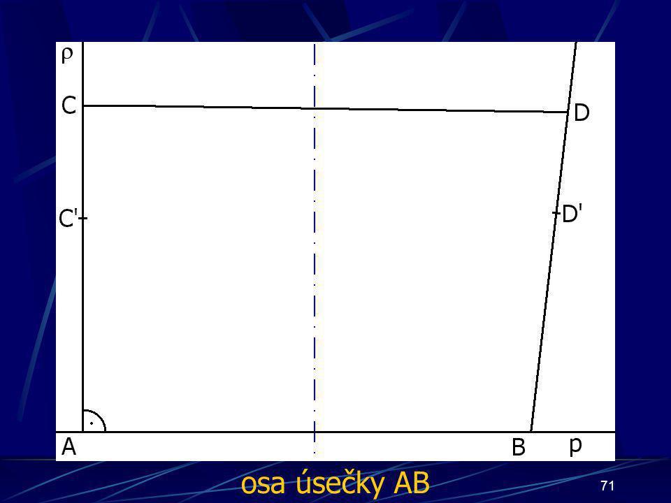 70 Konstrukce druhého případu Buď dána rovina ρ, dále: 5. ∡ ABD', jehož velikost je větší než 90° 6. Úsečka AC tak, že  AC  = d 7. Úsečka BD tak, že  