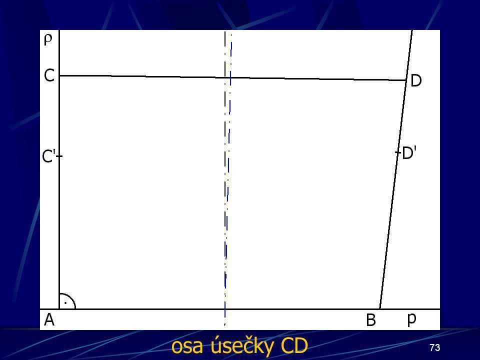 72 Konstrukce druhého případu Buď dána rovina ρ, dále: 6. Úsečka AC tak, že  AC  = d 7. Úsečka BD tak, že  BD  = d 8. Úsečka CD 9. Čtyřúhelník ABCD 10
