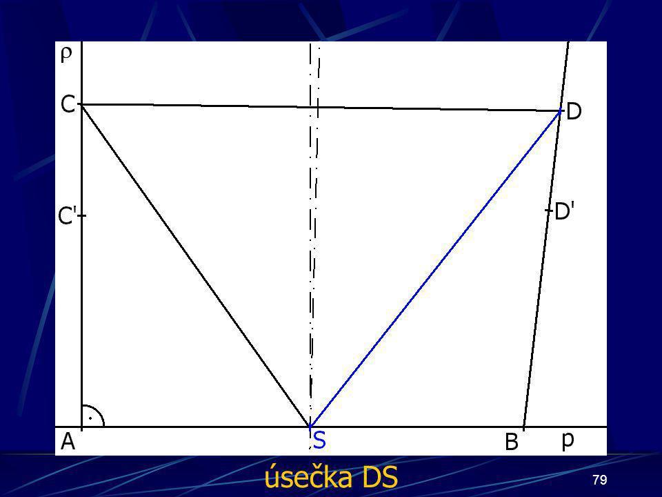 78 Konstrukce druhého případu Buď dána rovina ρ, dále: 10.