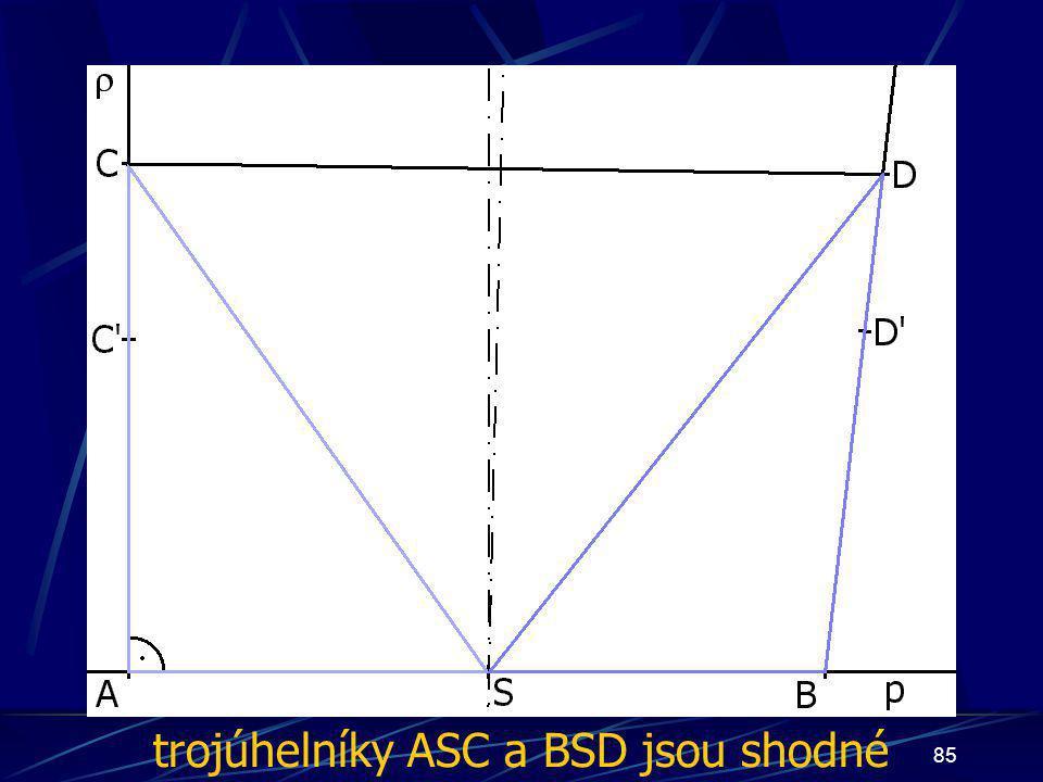84 Dokončení důkazu druhého případu z vlastností osy úsečky vyplývá:  AS  =  BS   CS  =  DS  Trojúhelníky ASC a BSD jsou shodné (sss)