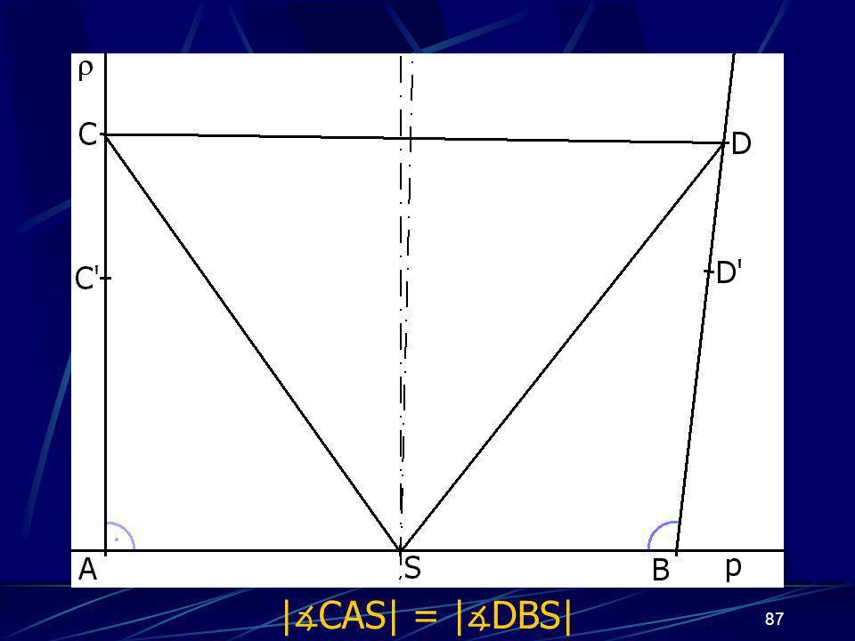 86 Dokončení důkazu druhého případu z vlastností osy úsečky vyplývá: |AS| = |BS| |CS| = |DS| Trojúhelníky ASC a BSD jsou shodné (sss) a odtud plyne: | ∡ CAS| = | ∡ DBS|