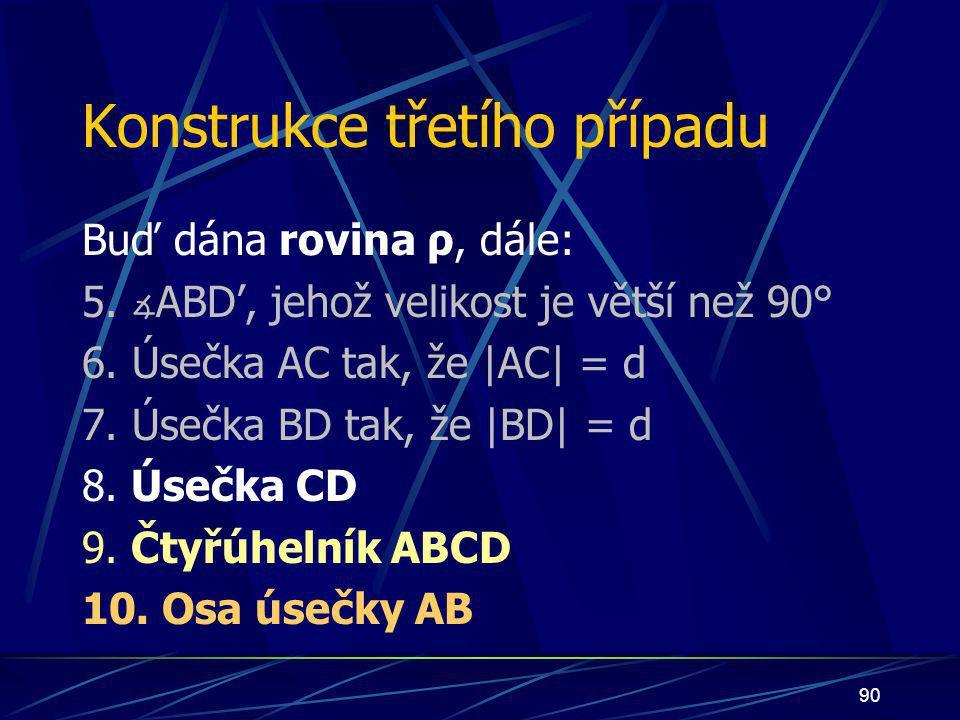 89 Důkaz Nechť nyní nastane případ: bod S bude ležet uvnitř čtyřúhelníka ABCD bod S bude náležet úsečce AB bod S bude náležet polorovině pod přímkou p
