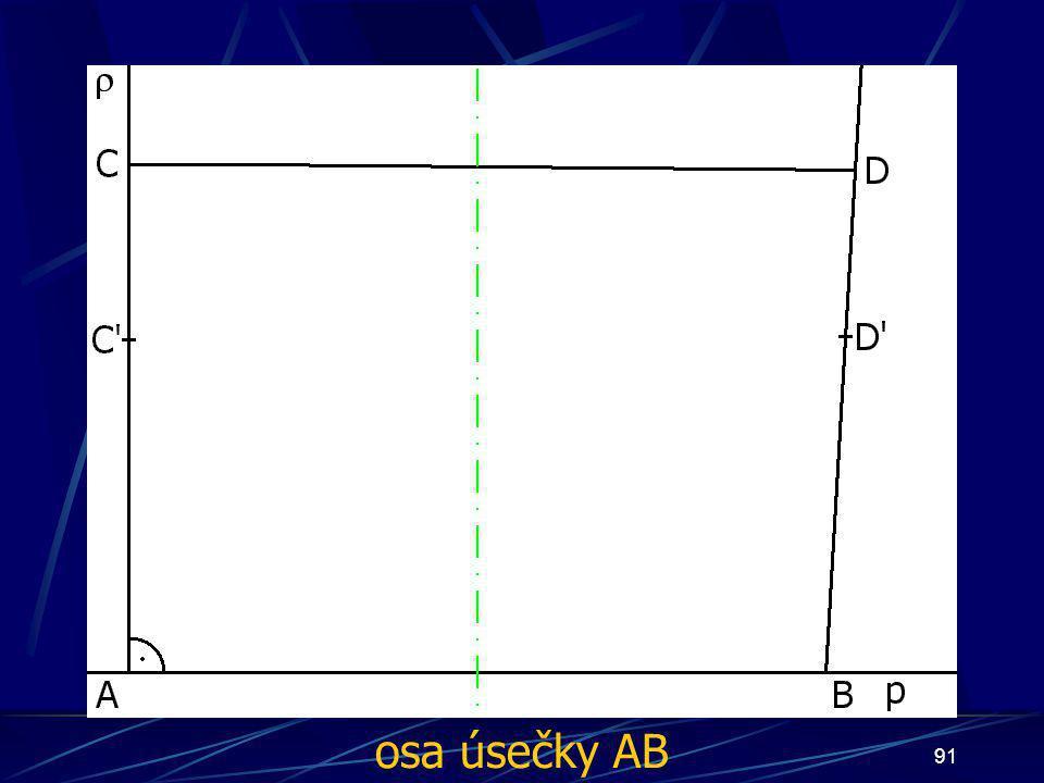 90 Konstrukce třetího případu Buď dána rovina ρ, dále: 5. ∡ ABD', jehož velikost je větší než 90° 6. Úsečka AC tak, že  AC  = d 7. Úsečka BD tak, že  