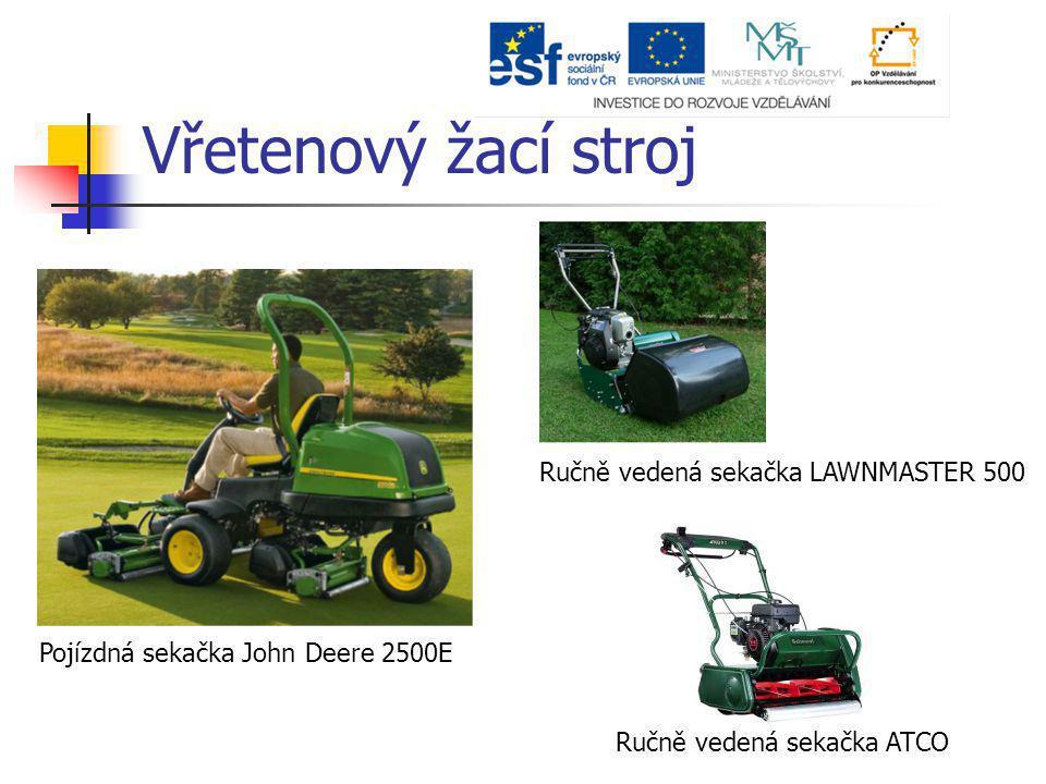 Vřetenový žací stroj Pojízdná sekačka John Deere 2500E Ručně vedená sekačka LAWNMASTER 500 Ručně vedená sekačka ATCO