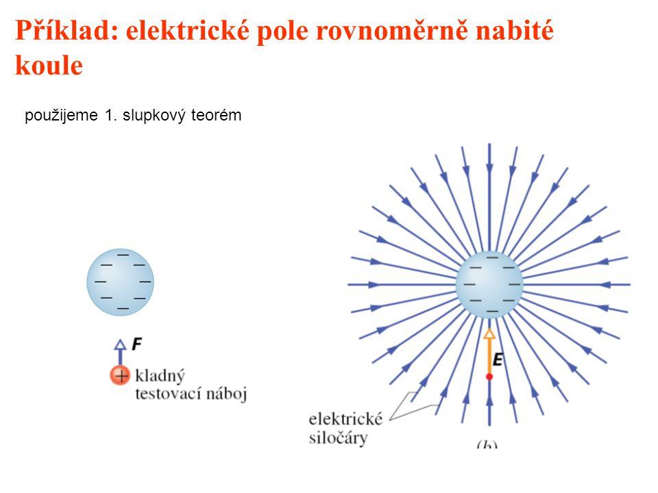 Příklad: elektrické pole rovnoměrně nabité koule použijeme 1. slupkový teorém