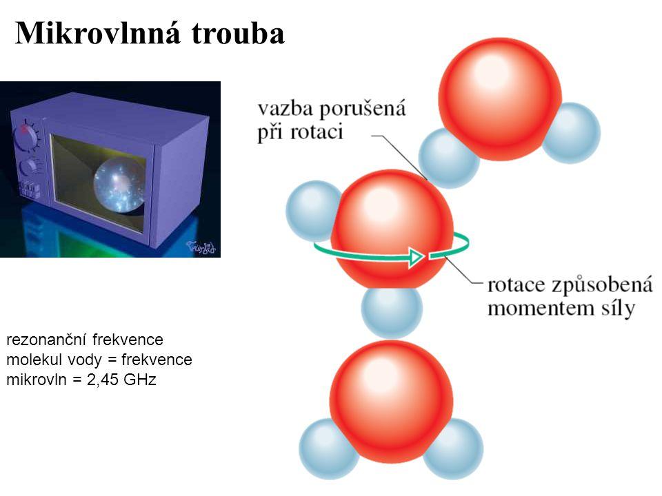 rezonanční frekvence molekul vody = frekvence mikrovln = 2,45 GHz Mikrovlnná trouba