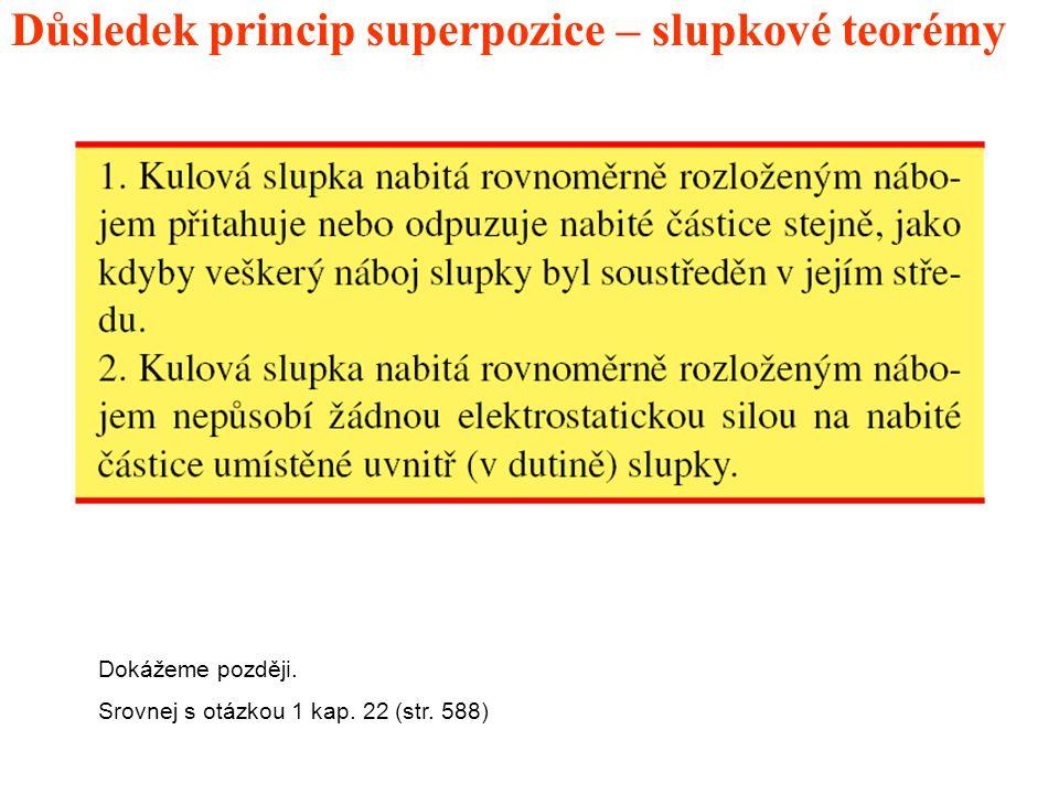 Důsledek princip superpozice – slupkové teorémy Dokážeme později. Srovnej s otázkou 1 kap. 22 (str. 588)