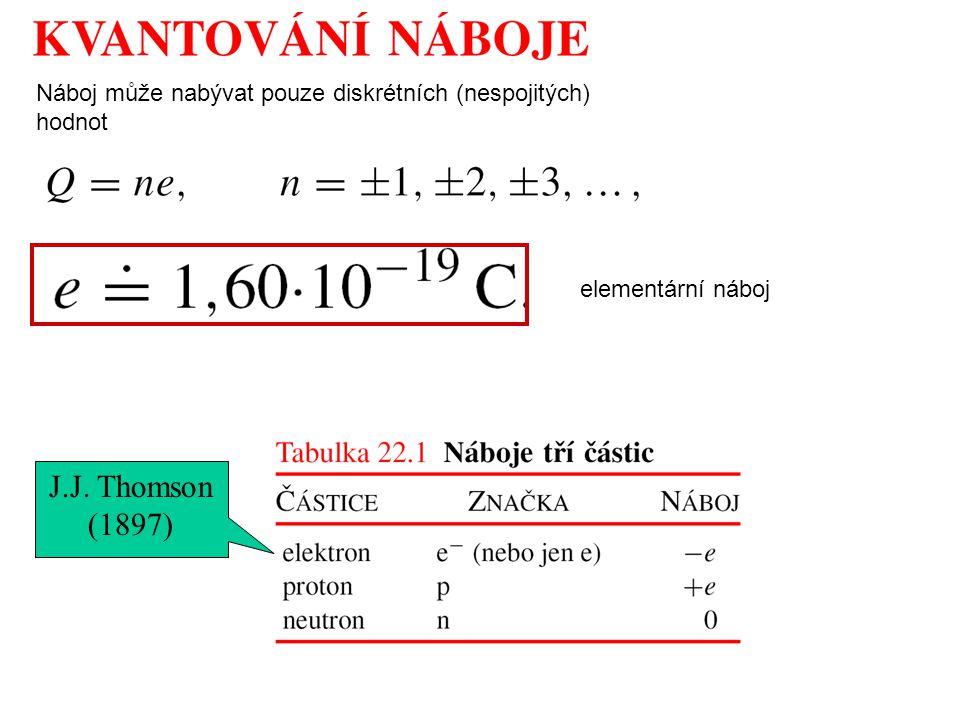 J.J. Thomson (1897) Náboj může nabývat pouze diskrétních (nespojitých) hodnot elementární náboj