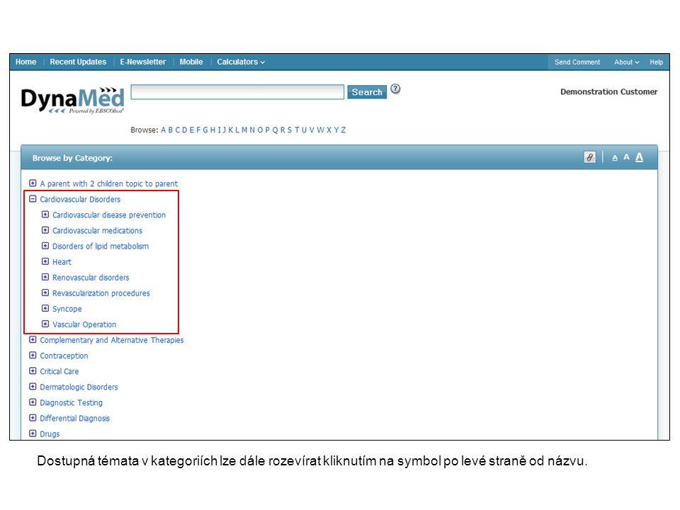 Dostupná témata v kategoriích lze dále rozevírat kliknutím na symbol po levé straně od názvu.