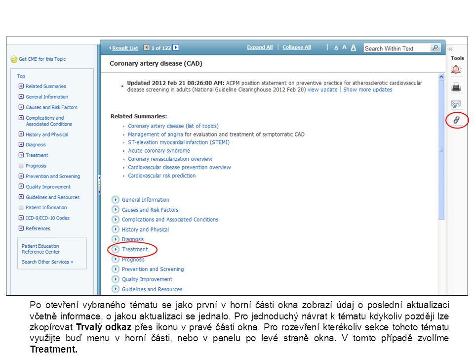 Po otevření vybraného tématu se jako první v horní části okna zobrazí údaj o poslední aktualizaci včetně informace, o jakou aktualizaci se jednalo.