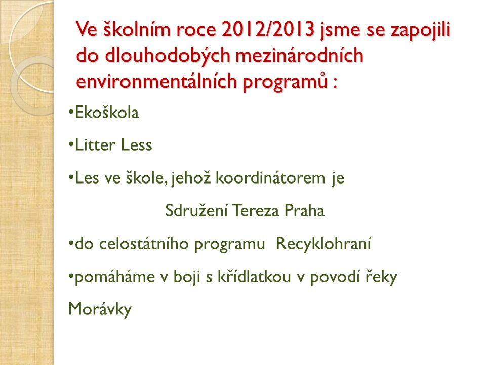 Ekoškola Litter Less Les ve škole, jehož koordinátorem je Sdružení Tereza Praha do celostátního programu Recyklohraní pomáháme v boji s křídlatkou v p