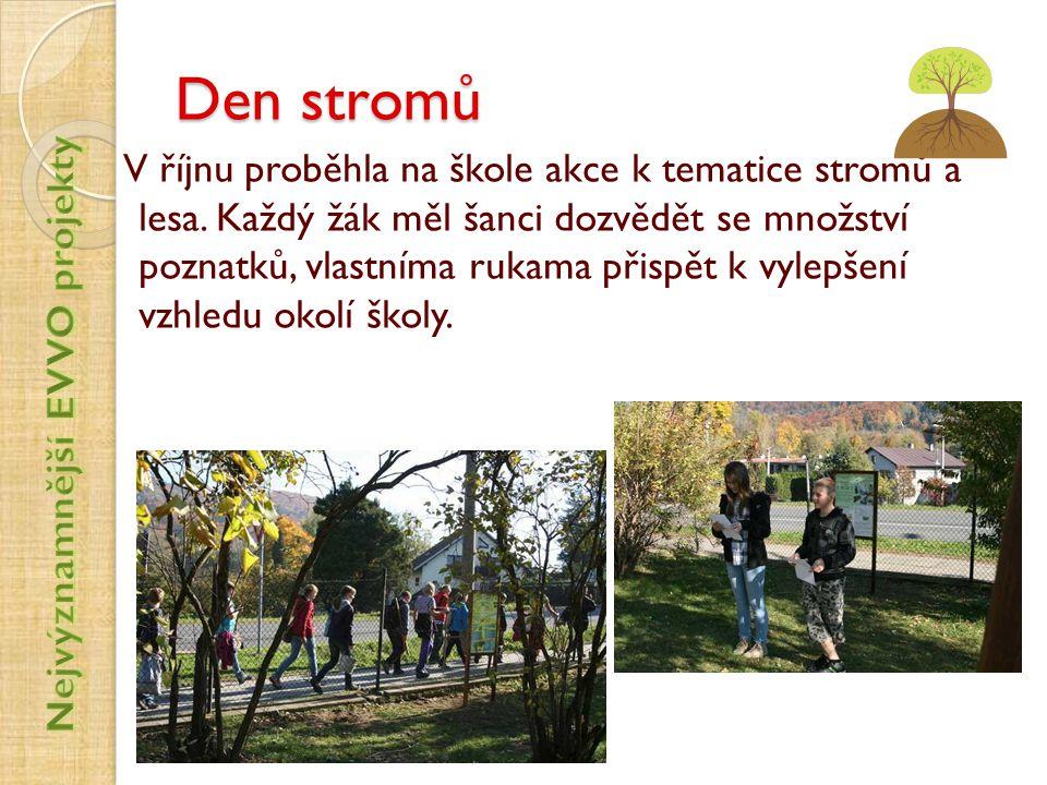 Den stromů V říjnu proběhla na škole akce k tematice stromů a lesa. Každý žák měl šanci dozvědět se množství poznatků, vlastníma rukama přispět k vyle