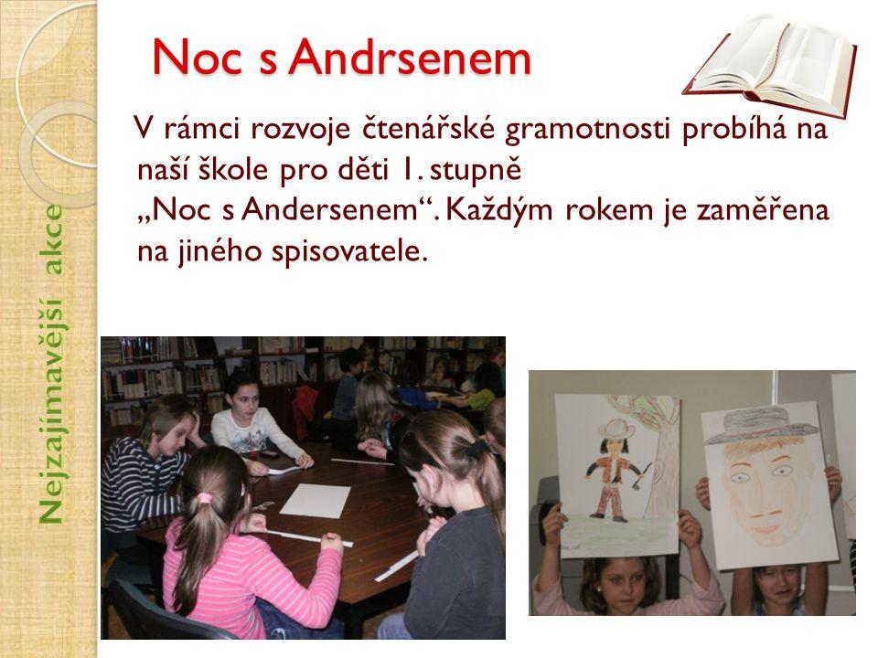 """Noc s Andrsenem V rámci rozvoje čtenářské gramotnosti probíhá na naší škole pro děti 1. stupně,,Noc s Andersenem"""". Každým rokem je zaměřena na jiného"""