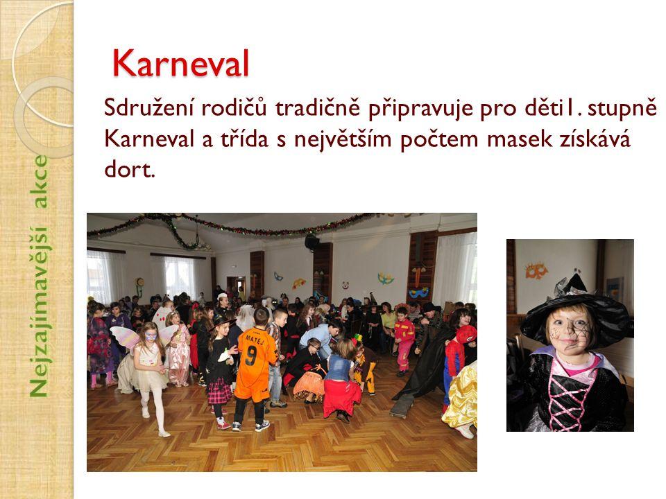 Karneval Sdružení rodičů tradičně připravuje pro děti1. stupně Karneval a třída s největším počtem masek získává dort.