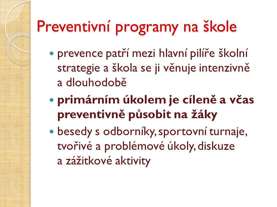 Preventivní programy na škole prevence patří mezi hlavní pilíře školní strategie a škola se ji věnuje intenzivně a dlouhodobě primárním úkolem je cíle