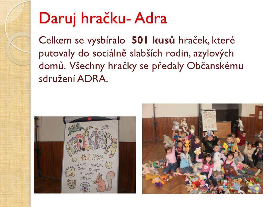 Daruj hračku- Adra Celkem se vysbíralo 501 kusů hraček, které putovaly do sociálně slabších rodin, azylových domů. Všechny hračky se předaly Občanském