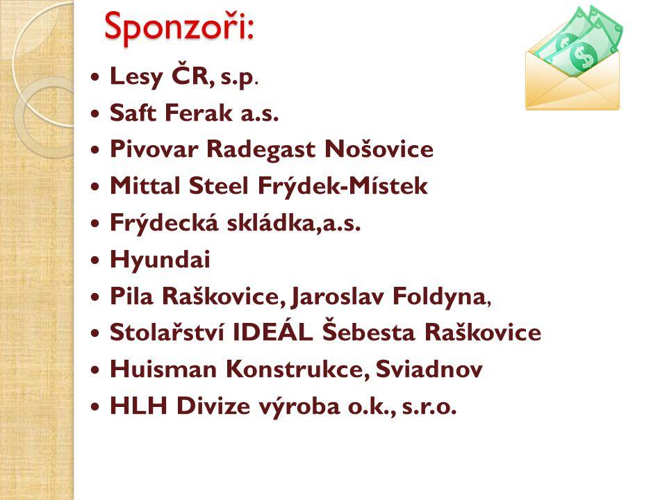 Sponzoři: Lesy ČR, s.p. Saft Ferak a.s. Pivovar Radegast Nošovice Mittal Steel Frýdek-Místek Frýdecká skládka,a.s. Hyundai Pila Raškovice, Jaroslav Fo