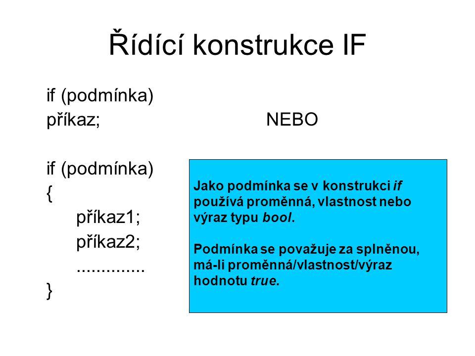 Dokončení příkladu private void panel_Paint(object sender, PaintEventArgs e) { //Kreslící plocha panelu a rozměry obrazce Graphics kp = e.Graphics; int šířka = panel.ClientSize.Width - 1; int výška = panel.ClientSize.Width - 1; //Je-li zaškrtnuto políčkoKříž, proveď příkazy: if (políčkoKříž.Checked) { kp.DrawLine(Pens.CornflowerBlue, 0, 0, šířka, výška); kp.DrawLine(Pens.CornflowerBlue, 0, výška, šířka, 0); } // Je-li zaškrtnuto políčkoČtverec, proveď příkaz: if (políčkoČtverec.Checked) kp.DrawRectangle(Pens.CornflowerBlue, 0, 0, šířka, výška); // Je-li zaškrtnuto políčkoKružnice, proveď příkaz: if (políčkoKružnice.Checked) kp.DrawEllipse(Pens.CornflowerBlue, 0, 0, šířka, výška);