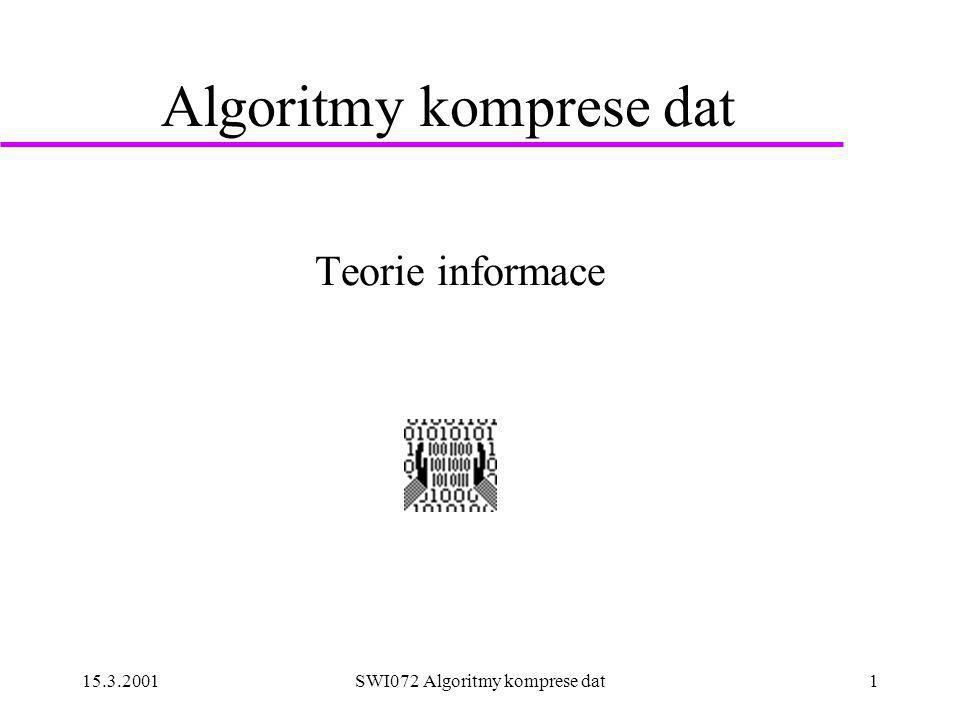 15.3.2001SWI072 Algoritmy komprese dat1 Algoritmy komprese dat Teorie informace