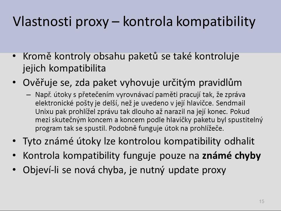 Vlastnosti proxy – kontrola kompatibility Kromě kontroly obsahu paketů se také kontroluje jejich kompatibilita Ověřuje se, zda paket vyhovuje určitým pravidlům – Např.
