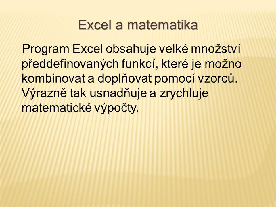 Program Excel obsahuje velké množství předdefinovaných funkcí, které je možno kombinovat a doplňovat pomocí vzorců. Výrazně tak usnadňuje a zrychluje