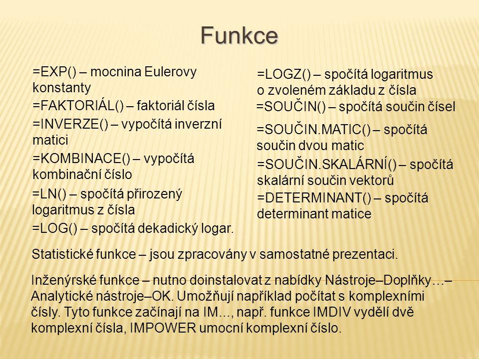 Funkce =EXP() – mocnina Eulerovy konstanty =FAKTORIÁL() – faktoriál čísla =INVERZE() – vypočítá inverzní matici =KOMBINACE() – vypočítá kombinační čís