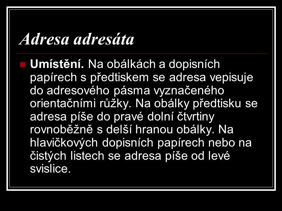 Adresa adresáta Umístění.