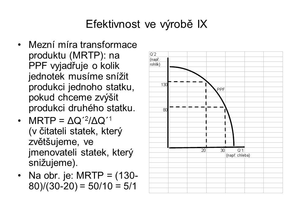 Efektivnost ve výrobě IX Mezní míra transformace produktu (MRTP): na PPF vyjadřuje o kolik jednotek musíme snížit produkci jednoho statku, pokud chcem