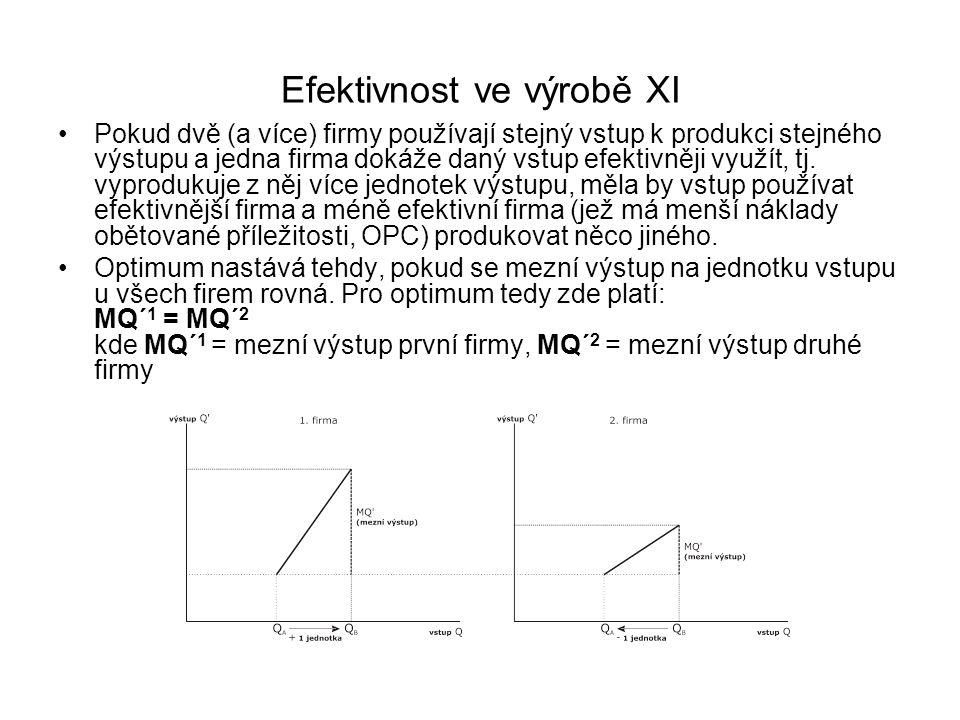 Efektivnost ve výrobě XI Pokud dvě (a více) firmy používají stejný vstup k produkci stejného výstupu a jedna firma dokáže daný vstup efektivněji využí