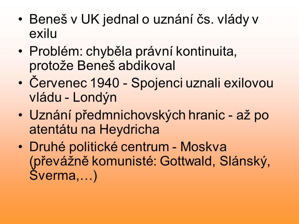 Beneš v UK jednal o uznání čs.