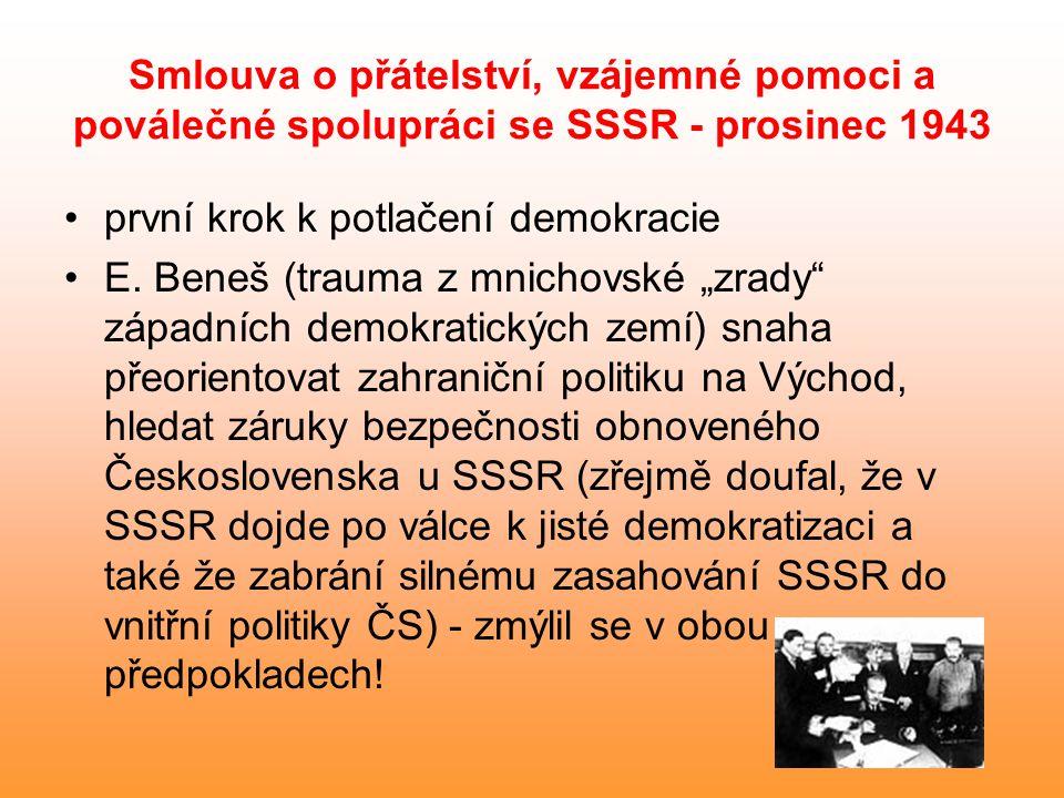 """Smlouva o přátelství, vzájemné pomoci a poválečné spolupráci se SSSR - prosinec 1943 první krok k potlačení demokracie E. Beneš (trauma z mnichovské """""""