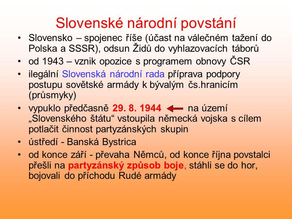 Slovenské národní povstání Slovensko – spojenec říše (účast na válečném tažení do Polska a SSSR), odsun Židů do vyhlazovacích táborů od 1943 – vznik o