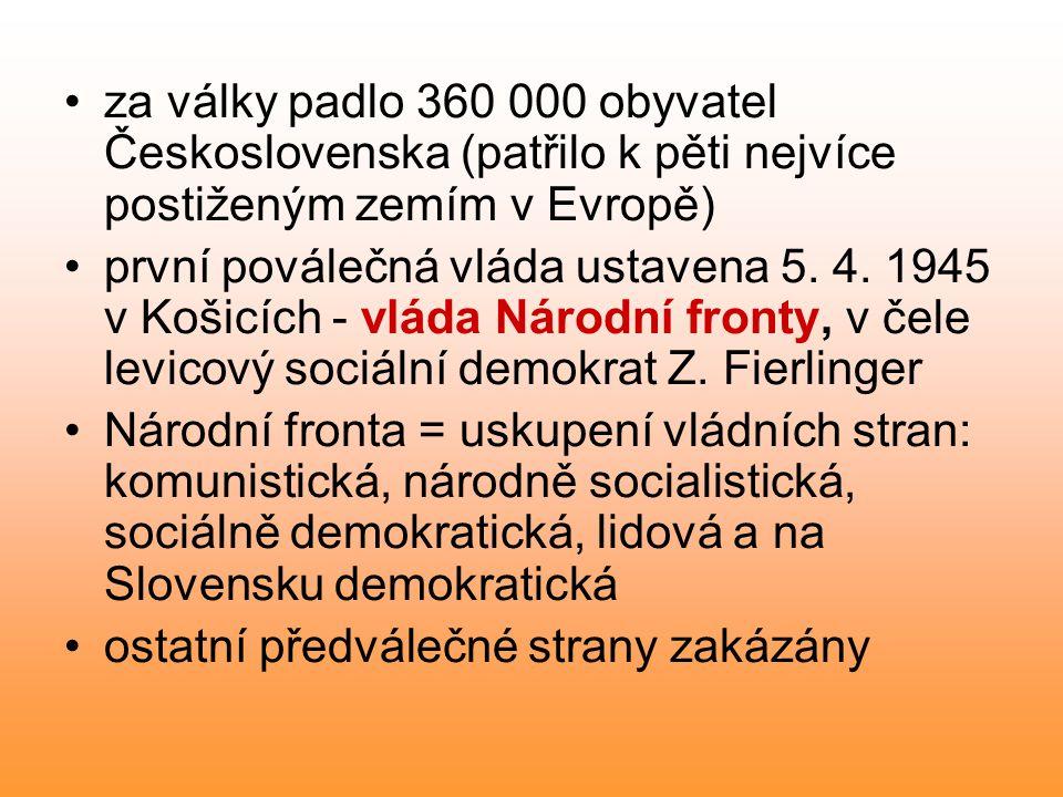 za války padlo 360 000 obyvatel Československa (patřilo k pěti nejvíce postiženým zemím v Evropě) první poválečná vláda ustavena 5. 4. 1945 v Košicích