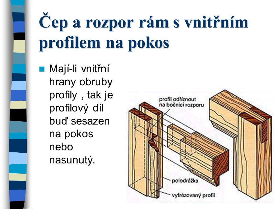 Rozpor a čep rám s vnitřní drážkou Pokud mají být výplně v rámu zasazené napevno, je třeba opatřit rámy drážkou.